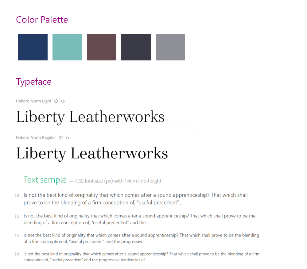 Liberty Leatherworks Style Guide